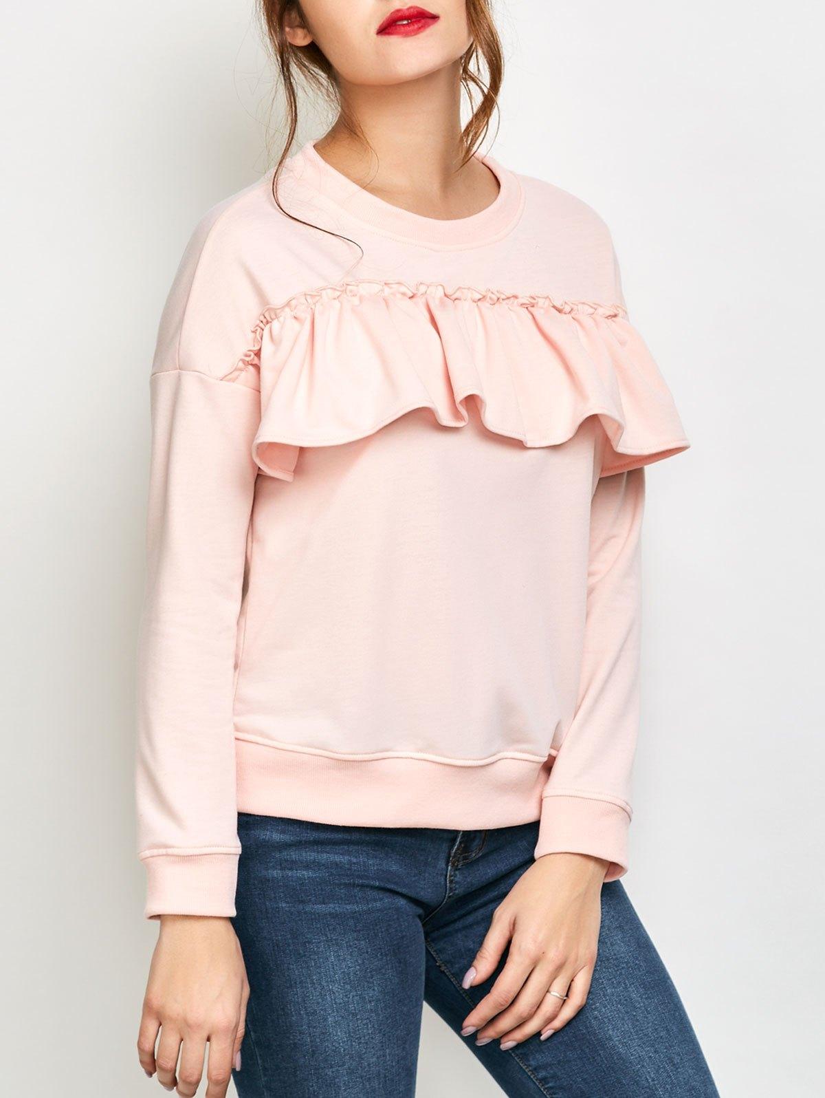 Jewel Neck Ruffles Sweatshirt