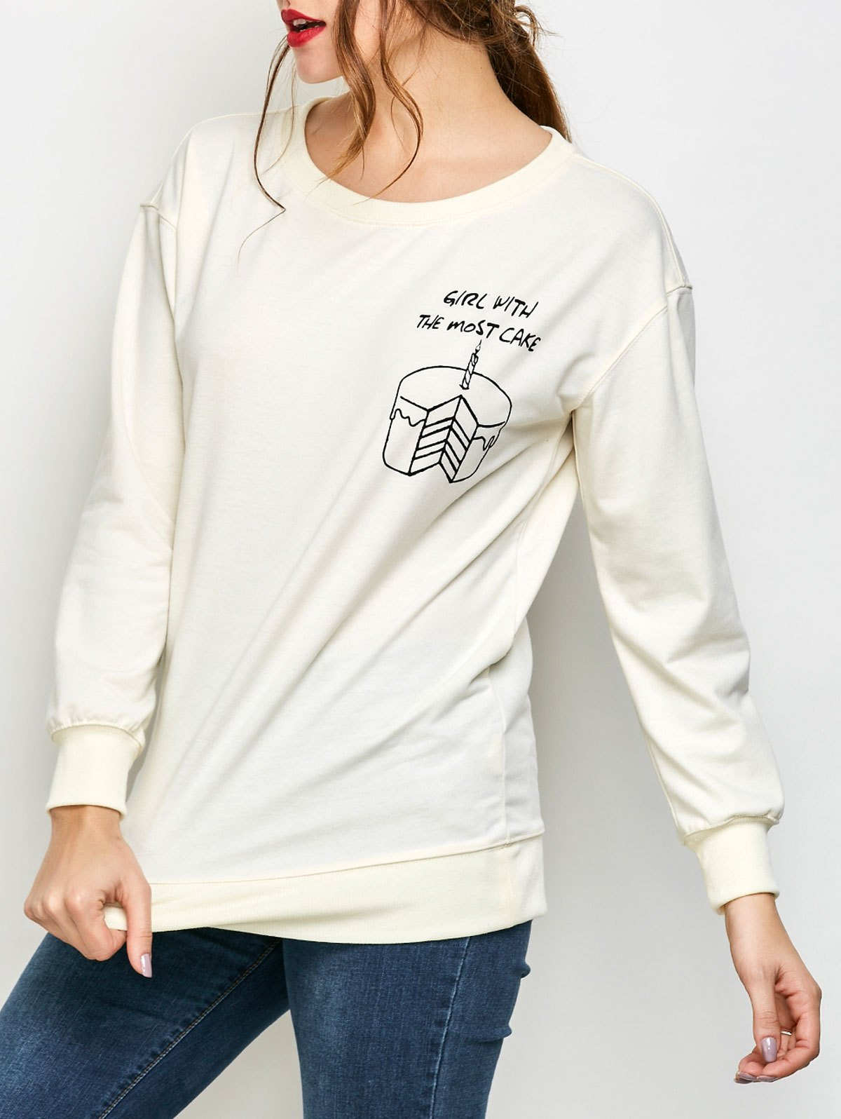 Skew Neck Graphic Loose Sweatshirt