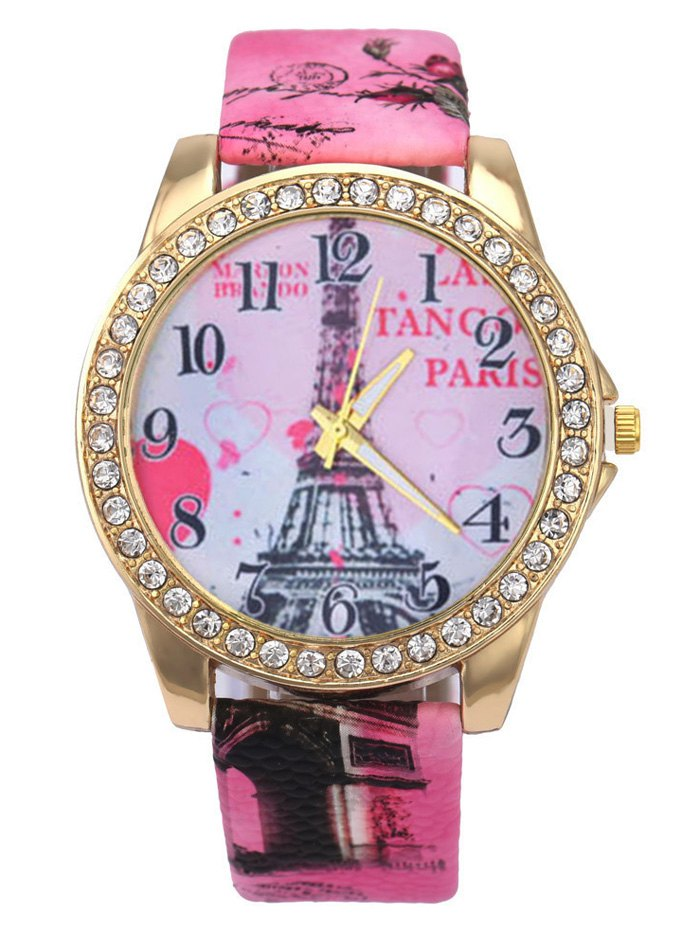 Rhinestone Eiffel Tower Faux Leather Quartz Watch