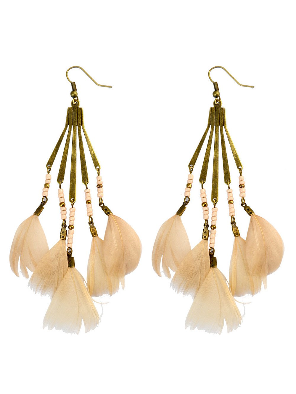 Bohemian Beads Feather Earrings