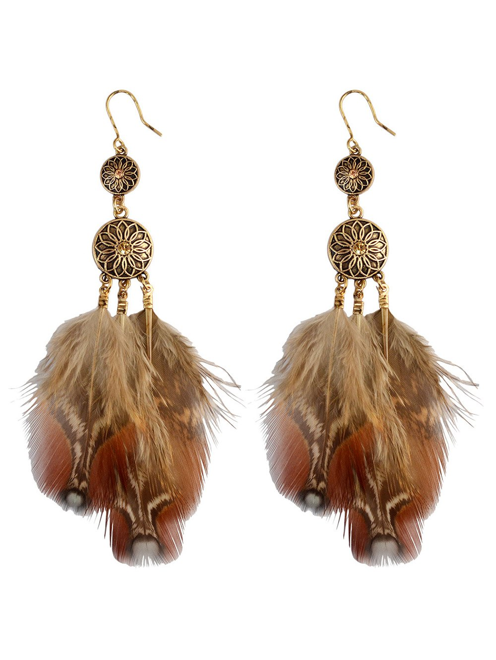 Rhinestone Feather Floral Bohemian Drop Earrings