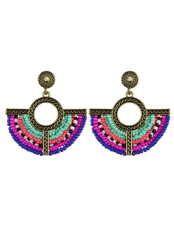 Geometric Beads Vintage Drop Earrings