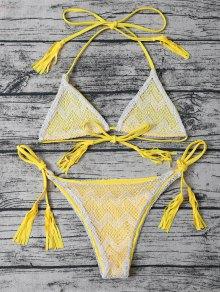 Bikini Tassel Cordes String En Dentelle - Jaune M