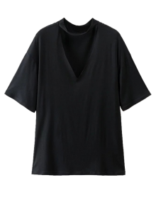 Choker Drop Shoulder T-Shirt - Black