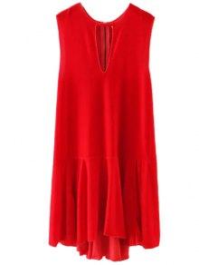 Frill Hem Velvet Tank Dress