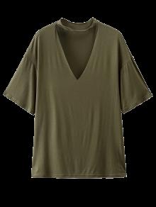 Choker Drop Shoulder T-Shirt - Greyish Green