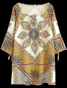 Printed Ralgan Sleeve Mini Tunic Dress