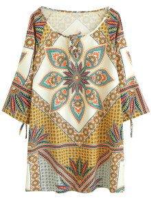 Printed Ralgan Sleeve Mini Tunic Dress