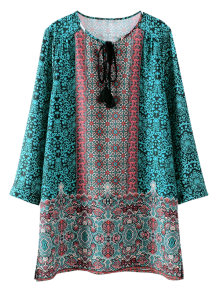Printed Vintage Long Sleeve A-Line Dress
