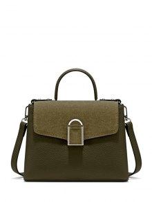 Suede Panel Flapped Handbag - Green