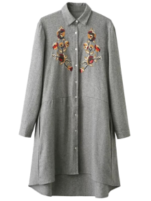 Embroidered Long Sleeve Tunic Shirt Dress