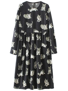 Kittens Print Long Sleeve Smock Dress