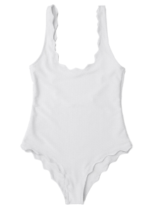 Low Back Scalloped One Piece Swimwear