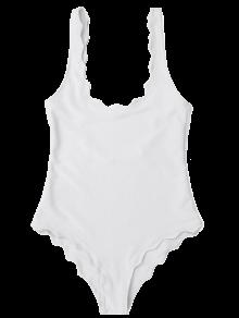 Low Back Scalloped One Piece Swimwear - White