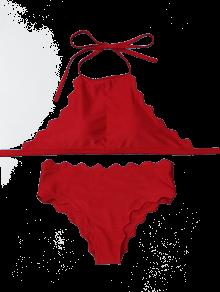 Halter Scalloped High Neck Bikini Set