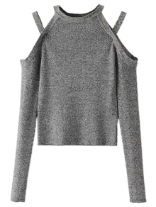 Banded Cold Shoulder Knitted Top - Gray