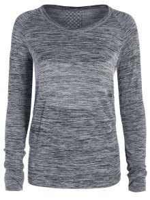 Long Sleeved Space Dye Sports Tee - Gray