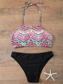 Halter Bikini Set With Diamond Print