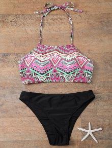 Halter Bikini Set With Diamond Print - Black