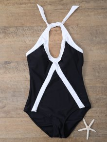 Color Block Sports One-Piece Swimwear - White And Black M