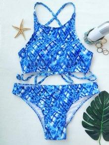 Crisscross Back High Neck Printed Bikini - Blue And White