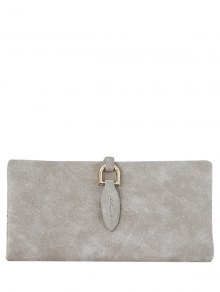 Metal Embellished Bi Fold Clutch Wallet - Light Khaki