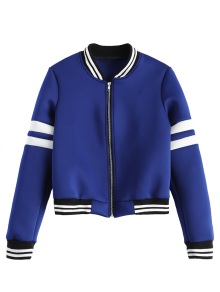 Striped Sleeve Bomber Jacket - Blue M