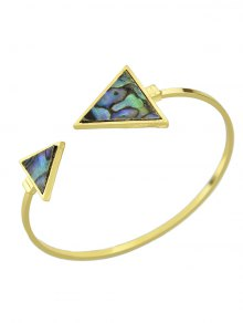 Artificial Gem Triangle Cuff Bracelet Vintage - Or