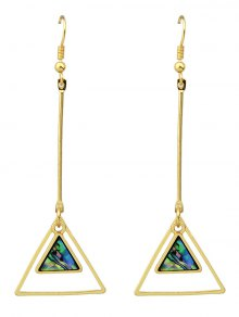 Faux Gem Triangle Vintage Drop Earrings - Golden
