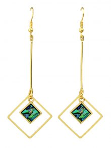 Faux Gem Square Vintage Drop Earrings