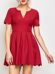 Ruched Scalloped A-Line Dress - Red
