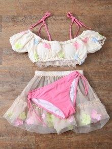 Tulle Three Piece Bikini - Off-white S