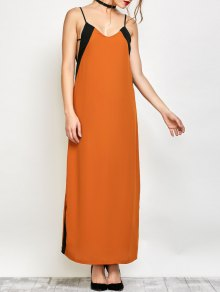 Contrast Stripe Maxi Slip Dress - Camel L