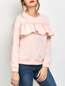 Ruffles Jewel Neck Sweatshirt - Pink M
