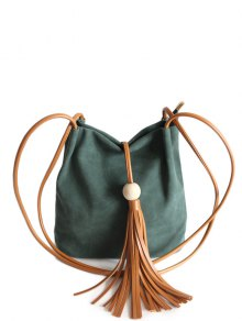 Tassel Wood Bead Shoulder Bag - Green