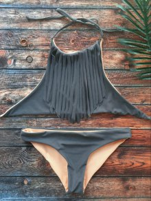 High Neck Double Side Fringed Bikini - Gray