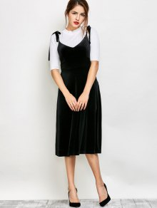 Shoulder Tie Velvet Pinafore Dress - Black M