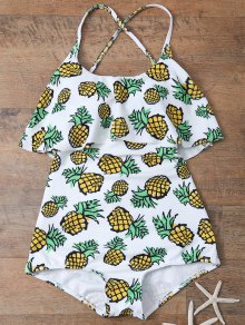 Pineapple Print Frilly Cute One Piece Bathing Suit - White