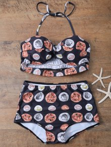 High Waisted Coin Print Bikini - Black L