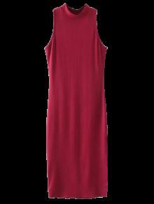 Slit Sleeveless Bodycon Ribbed Dress