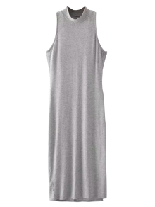 Slit Sleeveless Bodycon Ribbed Dress