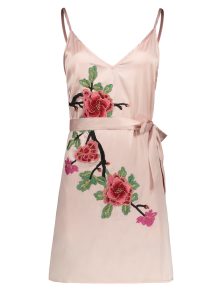 Mini Floral Embroidered Slip Dress - Shallow Pink
