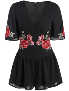 Fitting Floral Embroidered Romper - Black Xl