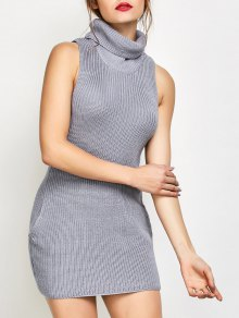 Sleeveless Turtle Neck Sweater Dress