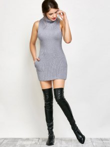 Sleeveless Cowl Neck Sweater Dress - GRAY S