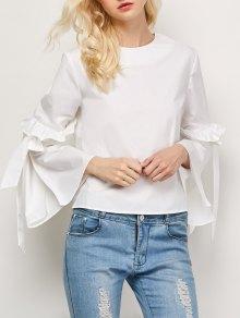 Oversized Flare Sleeve Flounced Blouse - White S