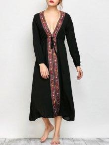 Low Cut Belted Printed Vintage Dress