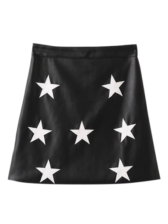 PU Leather Star A-Line Skirt - BLACK S Mobile