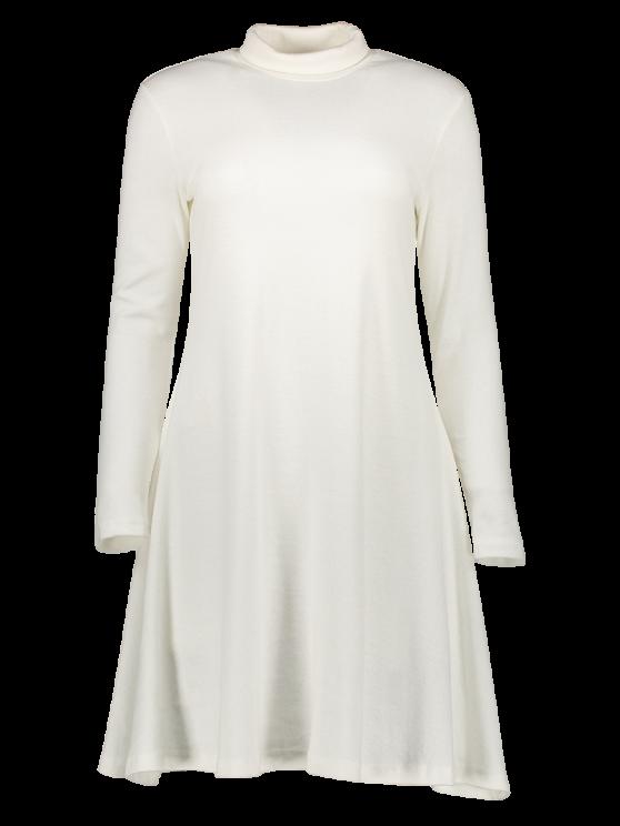 Turtle Neck Mini Swing Dress - WHITE 2XL Mobile