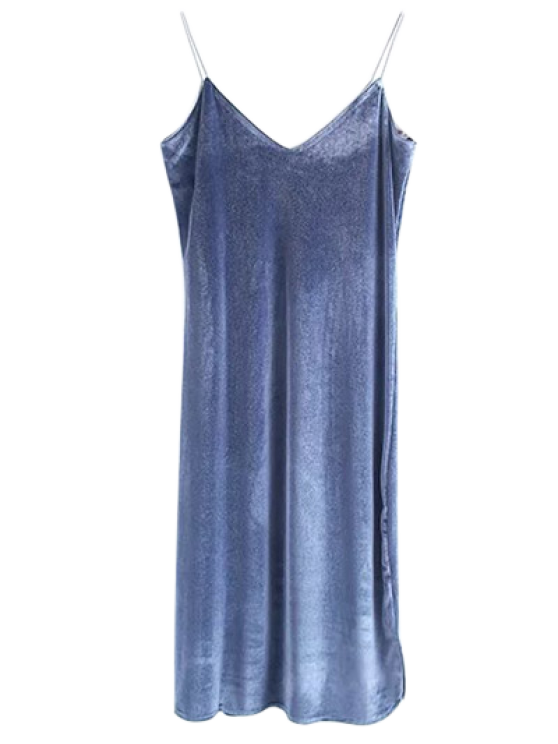 Cami Velvet Midi Dress - BLUE GRAY M Mobile